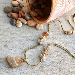 Cut Rock Crystal Necklace w Wooden Beads & Suede
